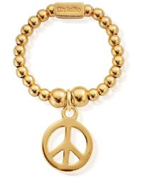 ChloBo Mini Ball Peace Ring - Gold - Metallic