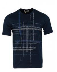 Canali Crew Text Print T-shirt (navy) - Blue