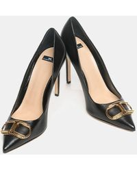 Elisabetta Franchi Cleavage Nerocon Golden Logo - Black