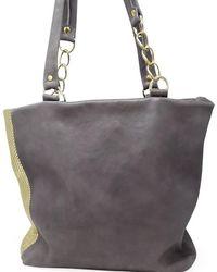 Laura B Milena Grey/gold Leather Shopper Bag - Metallic