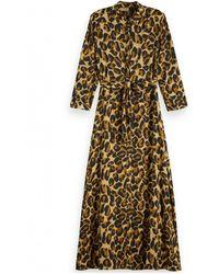 Scotch & Soda Belted Leopard Maxi Dress - Multicolour