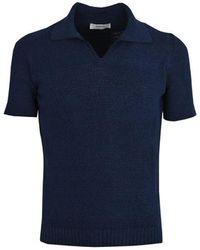 Alpha Studio Cotton Polo Shirt - Blue