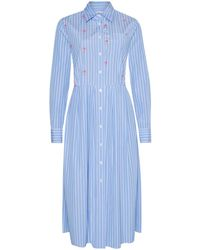 0039 Italy 0039 Cheyenne Fancy Long Shirt Dress In Stripe With Sequins 212117 - Blue