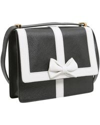 Boutique Moschino Crossbody Leather Bag With Contrasting Color Trim And Bow - White