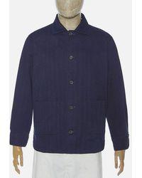 Universal Works Travail Shirt In Herringbone Indigo Denim - Blue