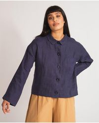 Beaumont Organic Zanna Linen Jacket In Navy - White