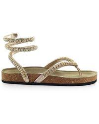 Strategia Platinum Thong Sandal With Rhinestone - Metallic