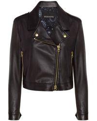 Ermanno Scervino Women's D38etcp31ecomf099 Black Leather Outerwear Jacket