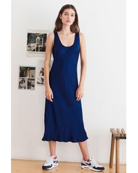 Velvet Ursula Satin Tank Dress - Blue