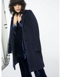 iBlues Single Breasted Bibita Coat In Navy - Blue