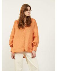 ALIGNE Charity Oversized Side Split Drop Hem Shirt Terracotta , - Orange