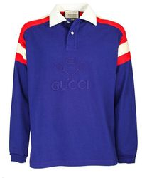 Gucci Tennis Long Sleeved Polo - Blue