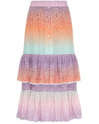 Hayley Menzies Midi Frill Silk Skirt - Multicolour