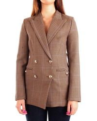 ViCOLO Women's Tw0597beige Beige Synthetic Fibres Blazer - Brown