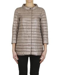 Herno - Long Down Jacket Taupe - Lyst
