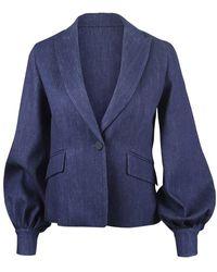 Sportmax Denim Jacket Puff Sleeve - Blue