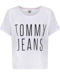 Tommy Hilfiger - Tommy Jeans Women's Cropped Logo T-shirt - Lyst