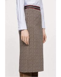 Luisa Cerano Houndstooth Checked Skirt With Elasticated Waist 528255/2468 - Brown