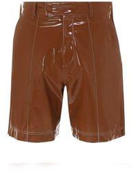 Gcds Vinyl Bermuda Shorts - Brown