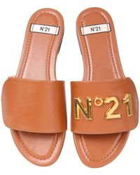 N°21 Sandals With Logo - Brown