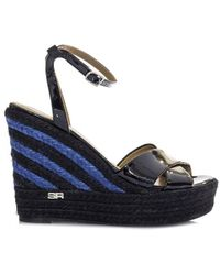 Sonia Rykiel - Black Varnish Wedge Sandals - Lyst