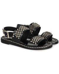 Laura Bellariva Positano Sandal With Spikes - Black