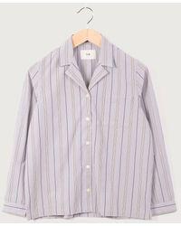 Folk Folk Soft Collar Pajama Shirt, Stripe - Multicolor