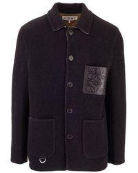 Loewe Men's H526330x891100 Black Wool Outerwear Jacket
