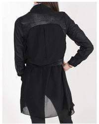 NÜ Mixed Fabric Waterfall Jacket - Black