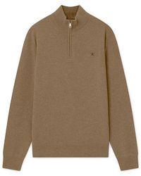 Hackett Lambswool Half Zip Sweater - Multicolor