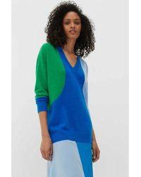 Chinti & Parker Chinti & Parker Flash V Neck Sweater - Royal Blue / Verde