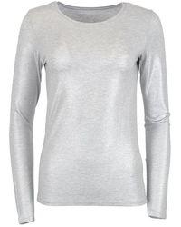 Majestic Filatures - Metallic Round Neck T-shirt Silver - Lyst