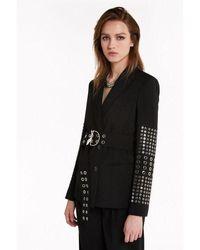 Patrizia Pepe Belted Blazer Jacket - Black