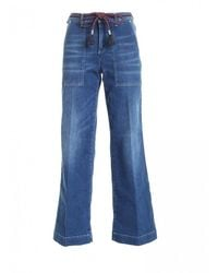 Jacob Cohen Red Logo Palazzo Jeans - Blue