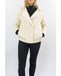 Diego M Faux Reversible Curly Shearling Short Coat - White