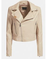 Guess Faux Leather Biker Jacket - Natural