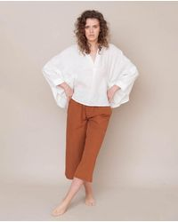 Beaumont Organic Ximena-may Organic Cotton & Linen Top In Off - White