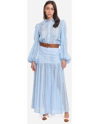 FEDERICA TOSI Long Skirt In Cotton Broderie Anglaise Sky Colour - Blue