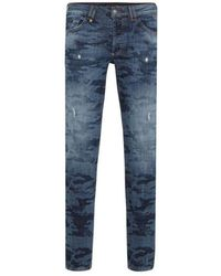Philipp Plein Camo Straight Cut Jeans Colour: Blue
