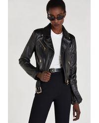 Patrizia Pepe Leather Biker Jacket - Black