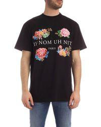 ih nom uh nit T-shirt Flowery Print - Black