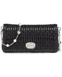 Miu Miu Women's 5bd417vcogfvjf0002 Black Leather Shoulder Bag