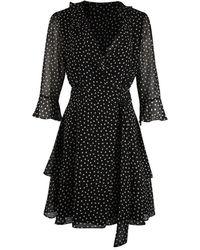 Marella Ikebana Spotted Wrap Dress - Black