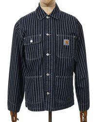 Carhartt Wip Trade Hickory Stripe Michigan Coat - Dark Navy/wax Color - Blue
