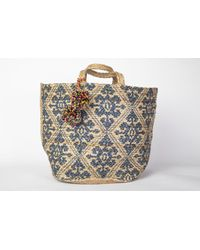Yunion T Mediterranean Blue And Natural Coloured Large Ikat Style Hand Woven Basket