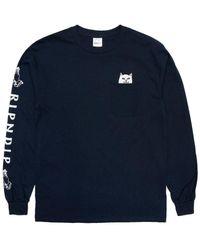 RIPNDIP Rip N Dip Lord Nermal Longsleeve Pocket T-shirt - Navy - Blue