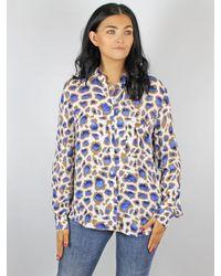 MARC AUREL Animal Print Shirt Blue & Tan