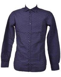 Aglini Men's Davidf816362 Blue Cotton Shirt