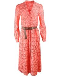 Michael Kors Long Sleeve Lace Midi Dress - Orange