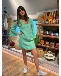 120% Lino Howth Hill Dress - Green